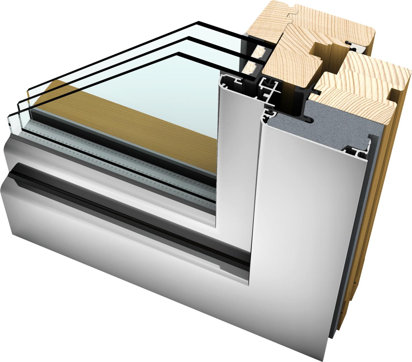 Okno drewniano – aluminiowe HF210