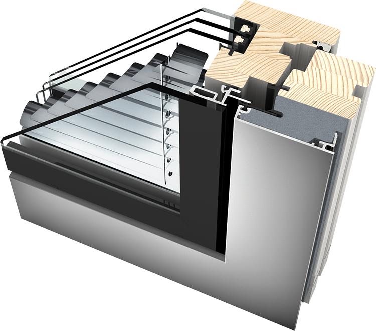 Okno drewniano – aluminiowe HV350